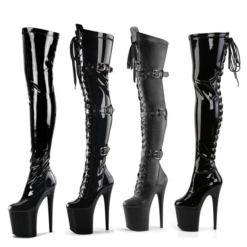 "2021 Popular stiletto fetish Exotic heels stripper platform dancer boots 20 cm 8"" women high heel sexy over knee boots"