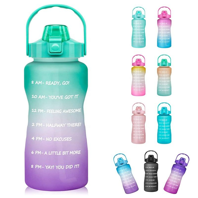 Tritan BPA Free Water Jug 64oz Motivational Plastic Gallon Water Bottle With Time Marker Straw for Fitness Gym Sports