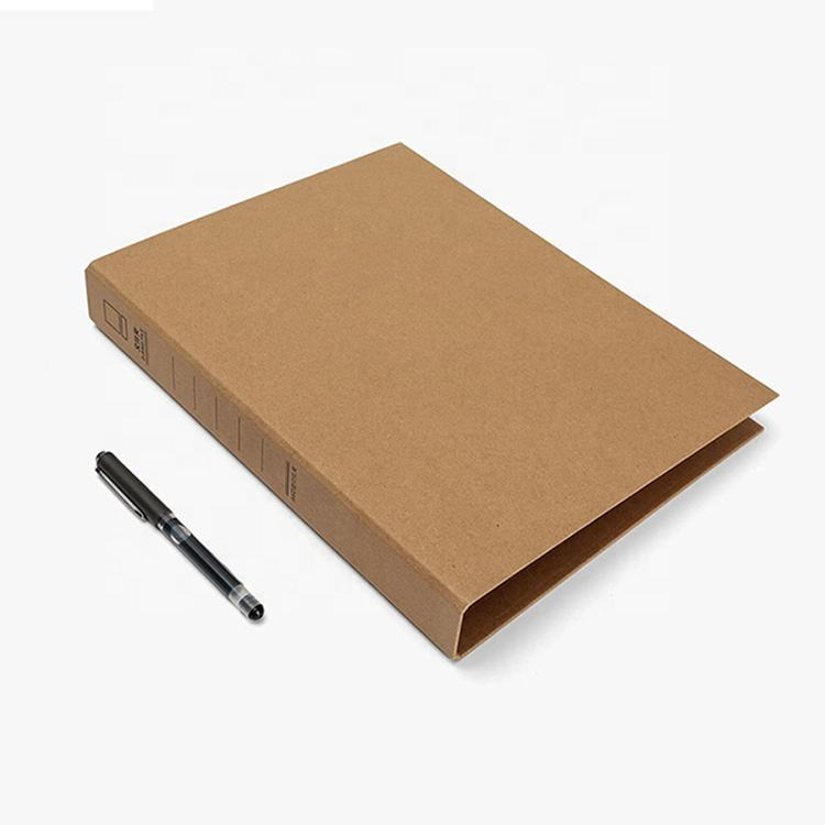 Durable custom design kraft paper hardcove lever arch file folder/2 ring binder metal clip file folder for document holding
