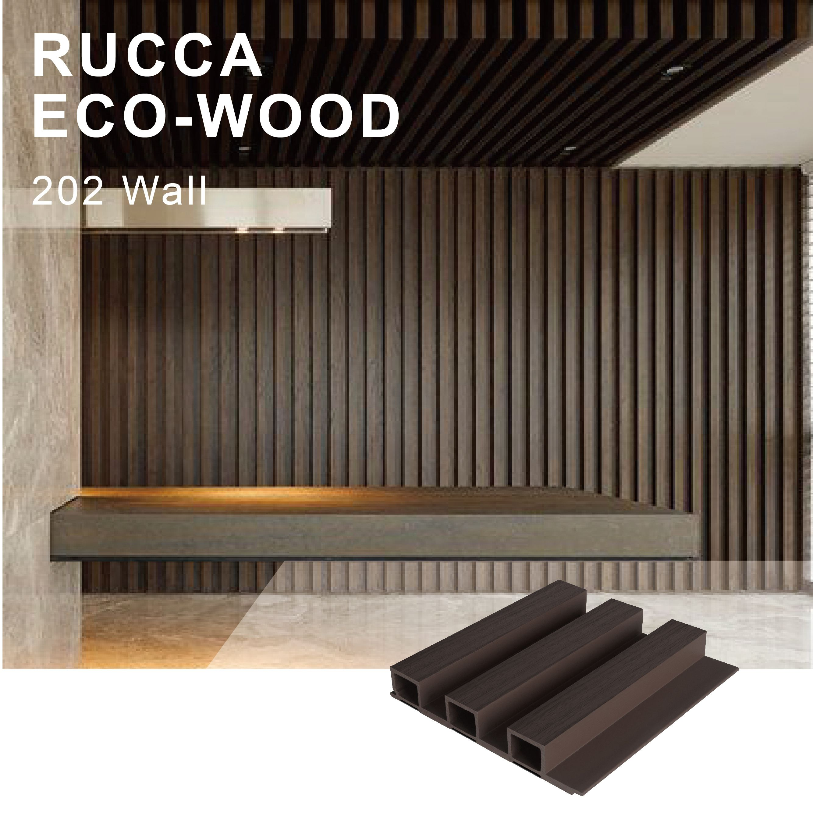 Rucca Wood Plastic Composite Faser Holz Wand paneel, hergestellt Home Wand paneele 202*30mm Innenwand dekorations material