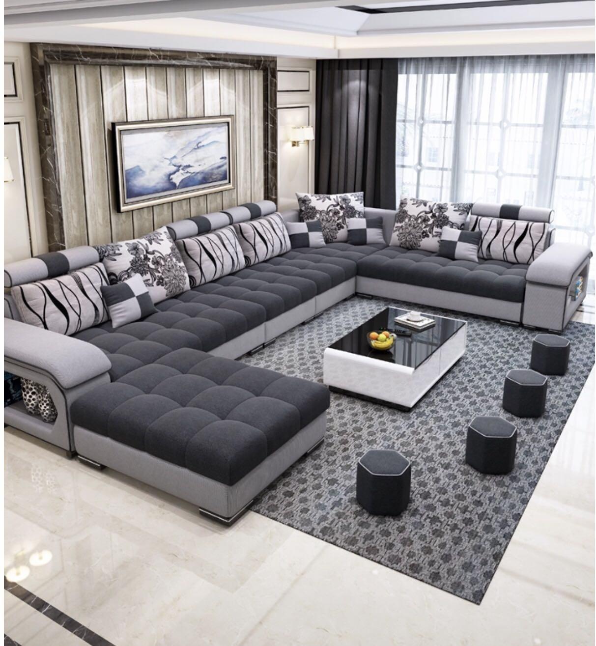 Furniture Factory Provided Living Room Furniture Designs Washable 7 Seats Sofa Set Fabric Sofas