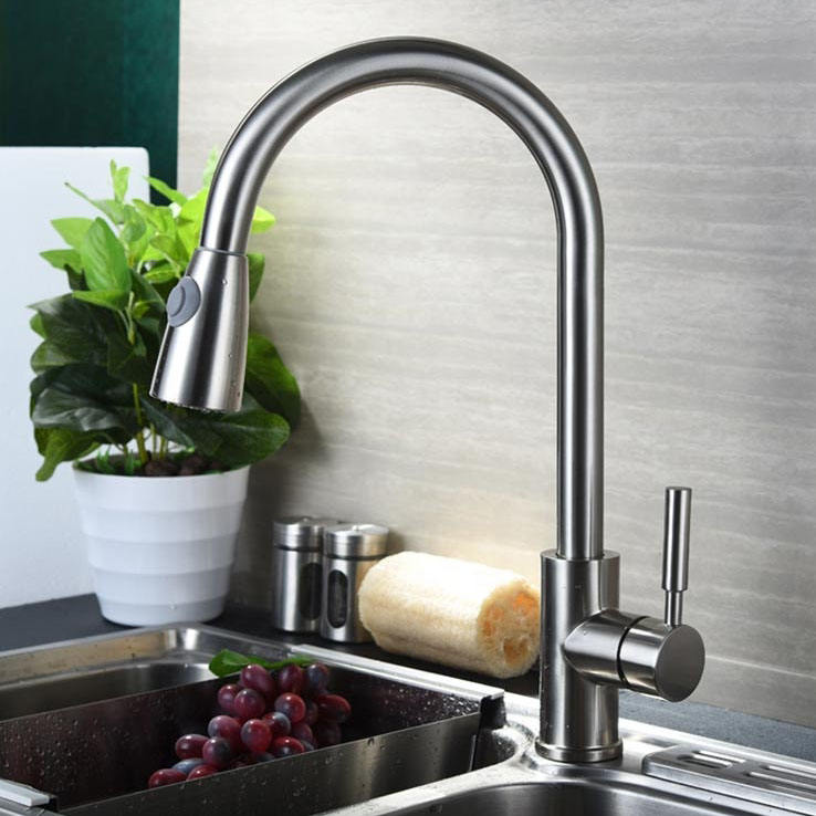Kitchen Faucet Brushed Nickel 304 Stainless Steel Pull Down Kitchen Faucet Mixer With Pull-out Spout