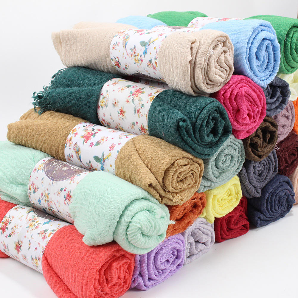 Many Colors Ladies Scarves Wholesale Cheap Price Crinkle Hijab Scarf Cotton Muslim Scarf Hijab