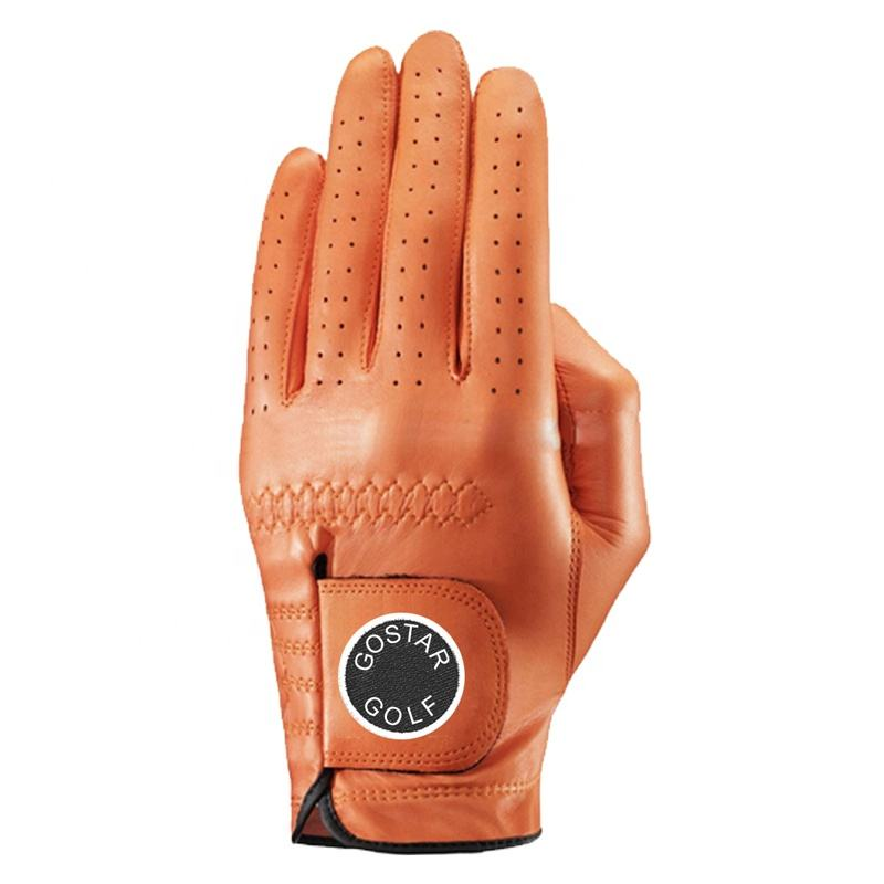 Customized logo premium wear-resistant breathable single color cabretta leather golf glove