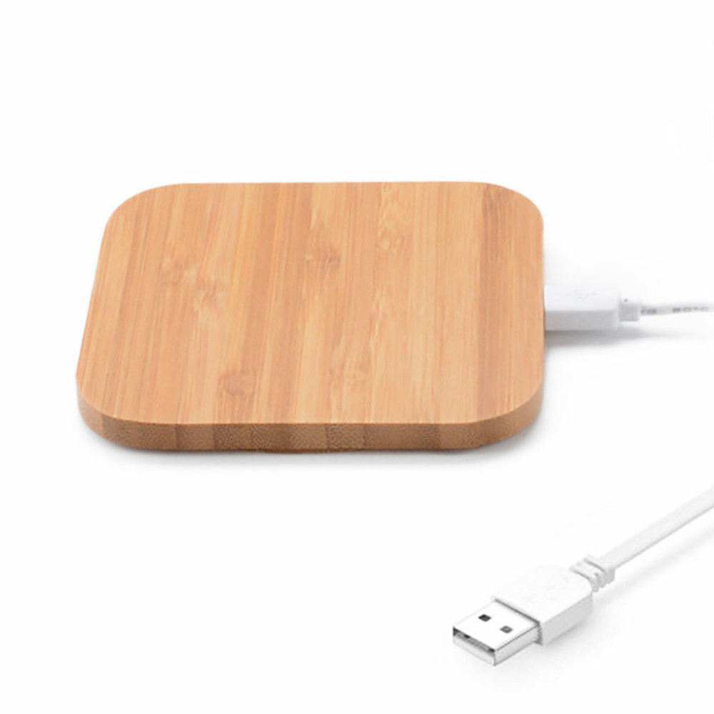 Universal Ultra Thin Portable Bamboo Wood Wireless Phone Charger Pad