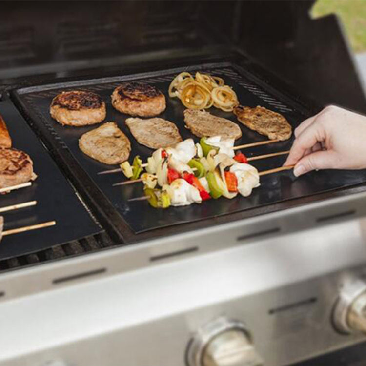 customized fire retardant cooking mat non-stick oven liner roll barbecue ptfe copper bbq grill mat