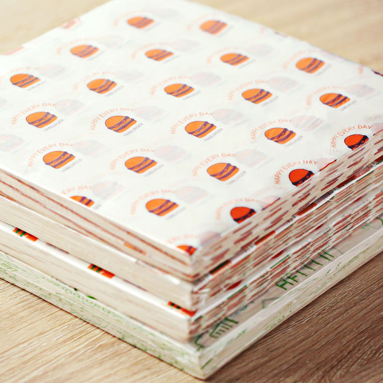 customized printing burger wrapping wax paper for hamburg sandwiches burger packaging