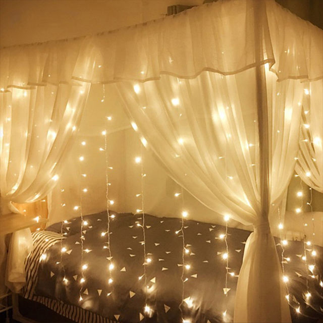 3X 2/4X 2/6X3 M LED Pernikahan Fairy String Lampu Natal Light 300 LED Peri light Garland untuk Pesta Kebun Tirai Dekorasi