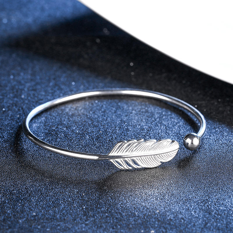 2020 Hoge Kwaliteit Silver Leaf Verstelbare Open Manchet <span class=keywords><strong>Armband</strong></span> Bangle Veer Open Manchet Bangle voor Vrouwen
