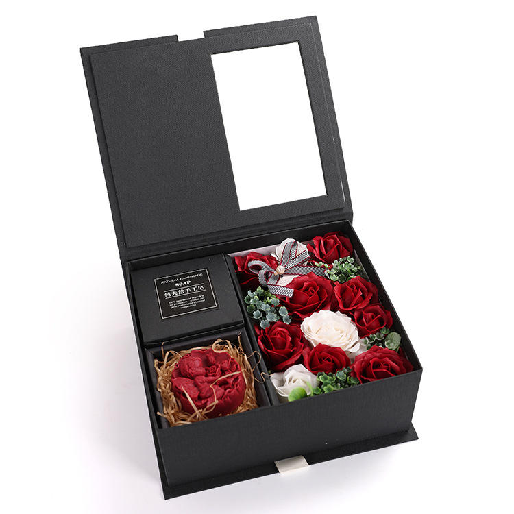 Custom Luxury Kraft Soap Bouquet Roses Flower Valentine's Day Wedding Soap Set Gift Box Square Private Label With Flowers