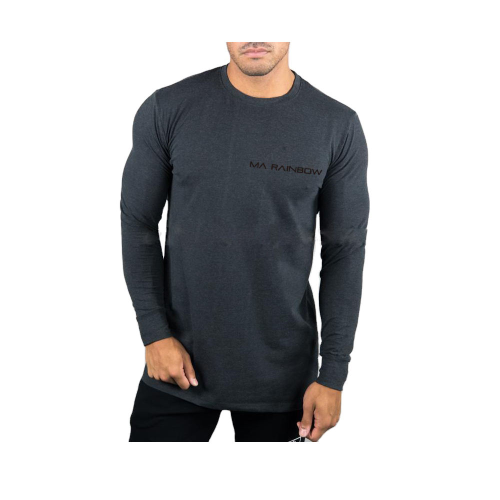 Hot Sale 96% Cotton 4% Elastane Black Long Sleeve T Shirt Custom Printed Performance Shirt Mens Muscle Fit Gym T Shirt