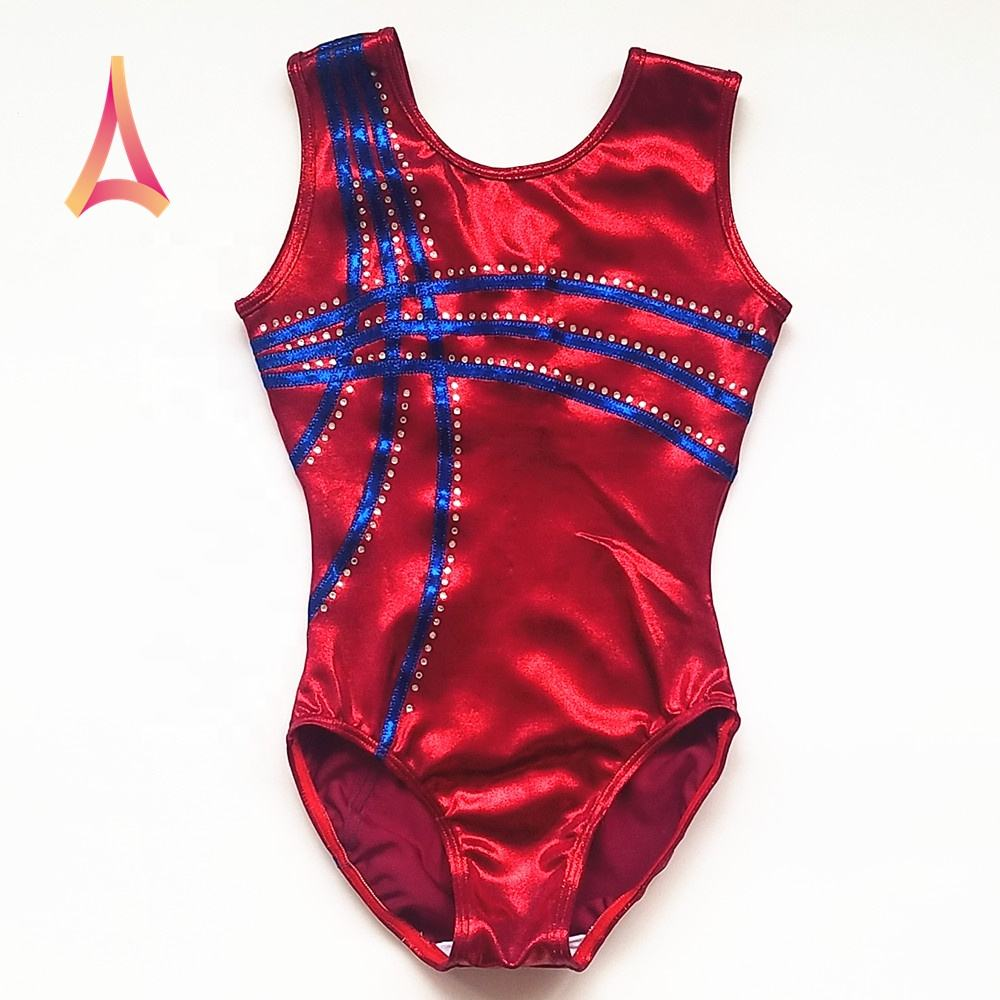 support for custom design Gymnastics Leotards Girls sleeveless leotard for sale