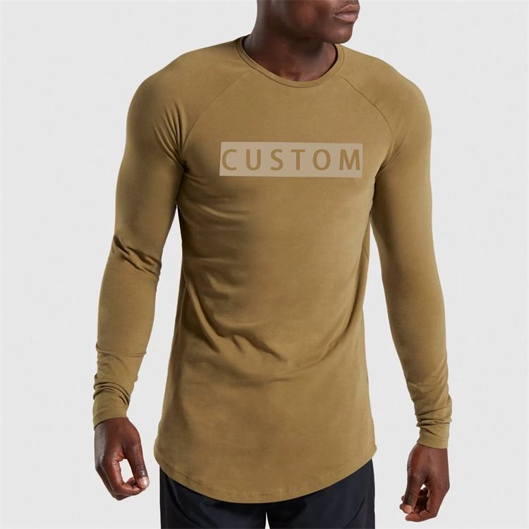 Custom print slim fit elongated long sleeve tall t shirt for men