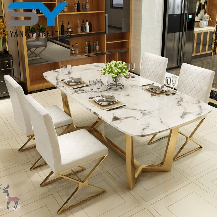 Foshan top furniture glass dining table mirror dinning table for wedding