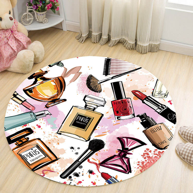 Pink Cartoon Print Round Carpets For Living Room Bedroom Rugs Carpets Girl Room Decor Floor Mat Coffee Table Area Rugs