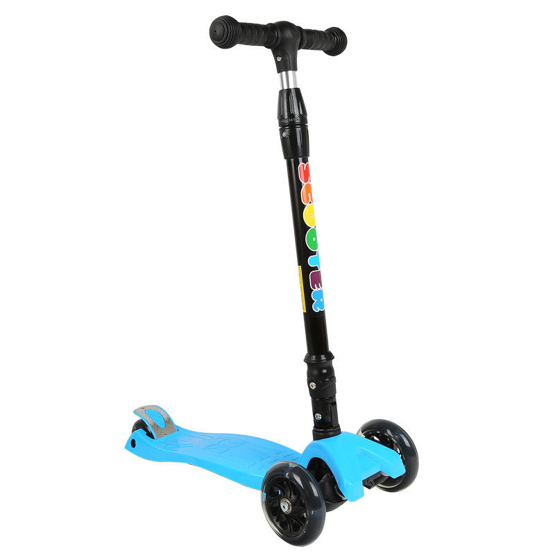 Foldable Children Kids T-bar Push Foot Scooter/ Three Flashing Wheels Kick Scooter for kids