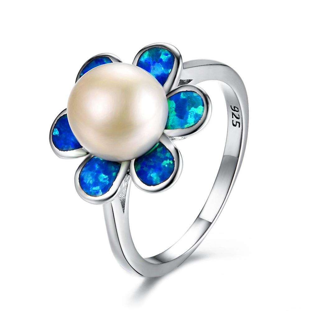 Pearl rings women jewelry blue opal ring flower shaped rings for lady