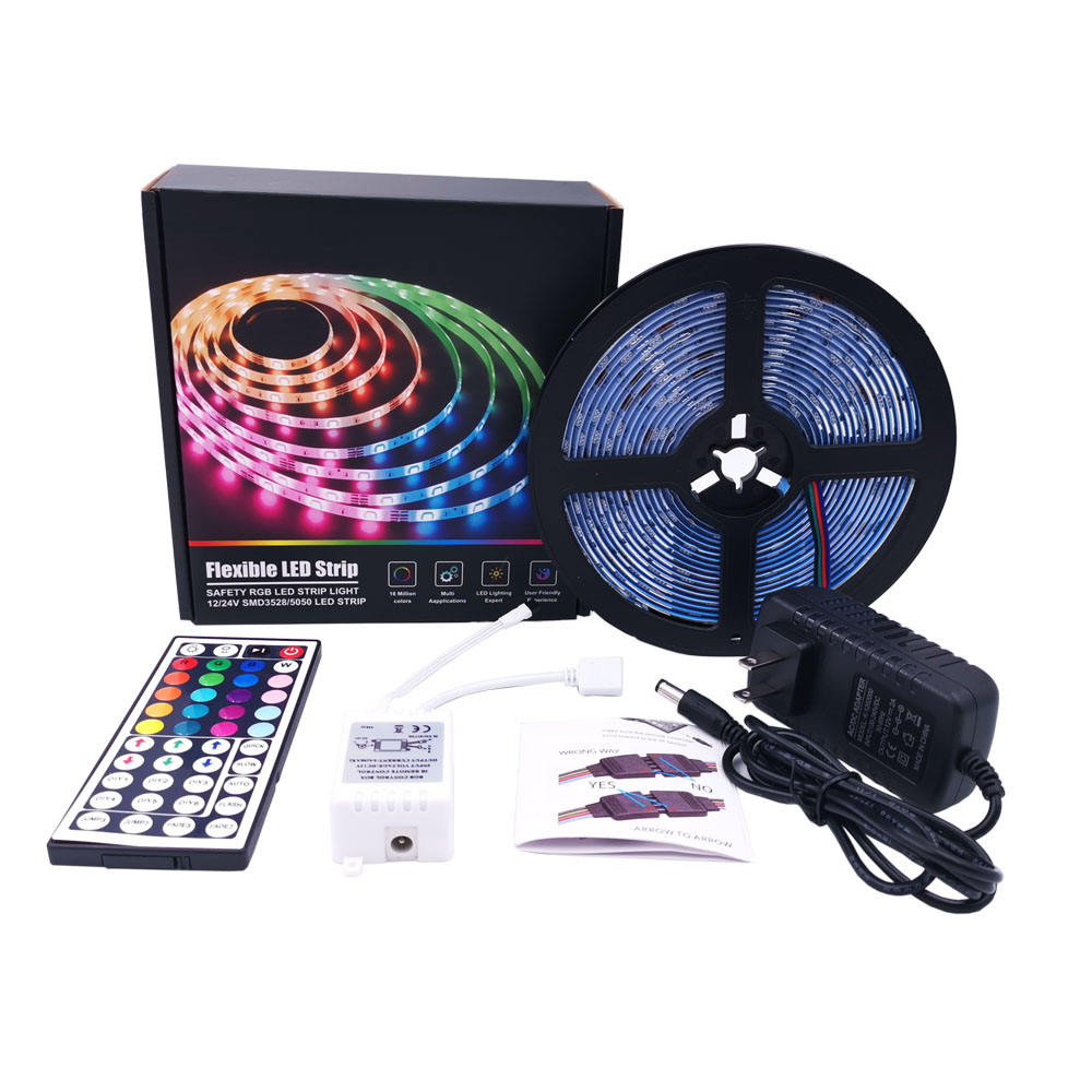 IP65 44 키 ir remote RGB 색 5 M (150) 의 led 12 V SMD 5050 rgb led strip kit