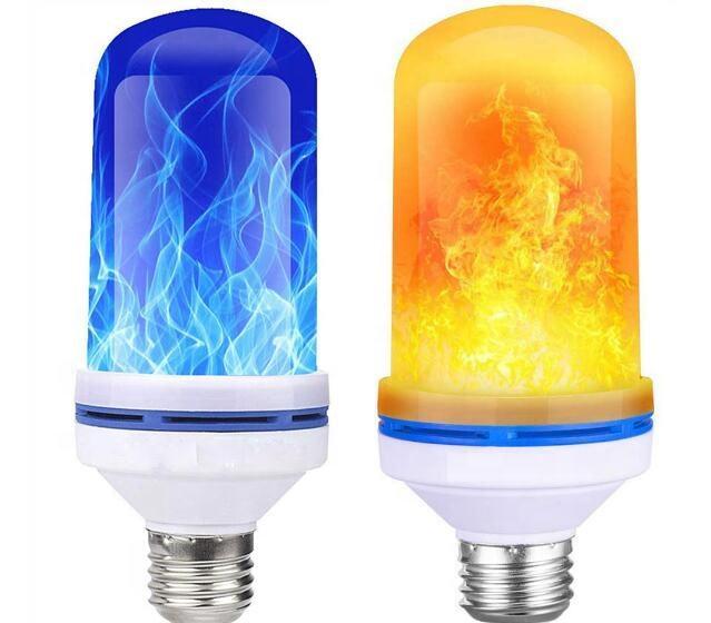 B22 96LED Burning Light Flicker Flame Bulb Fire Effect Home Decor Lamp 5W Blue