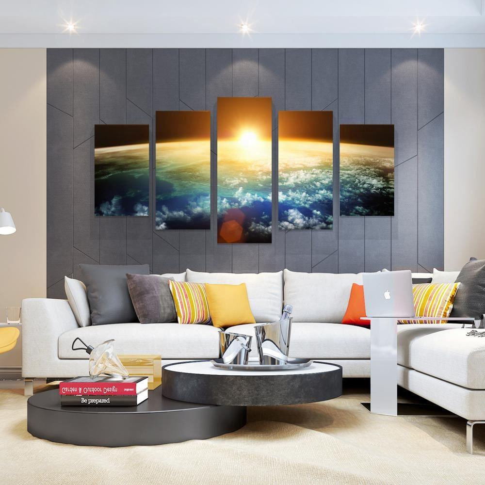 5 Panels Earth Wall Art Large Modern Picture Wall Decor Stretched Giclee Print on Canvas Split Pieces