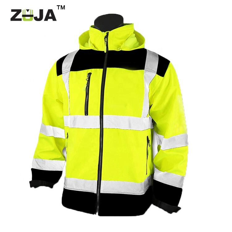 ZUJA Waterproof Lightweight SoftShell Reflective Hi Vis Construction Safety Jacket