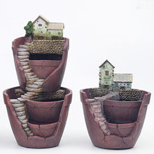 Roogo polyresin 2 floor garden decor flower pots