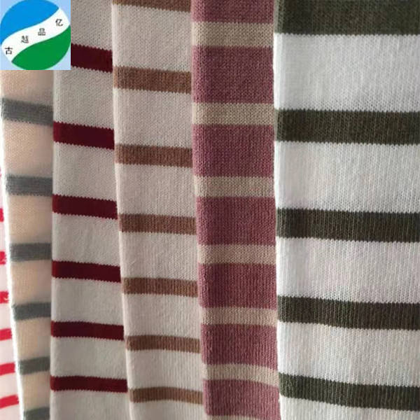 China factory A grade Cotton plain thickened yarn dyed Jersey stripe stock fabric from shaoxing