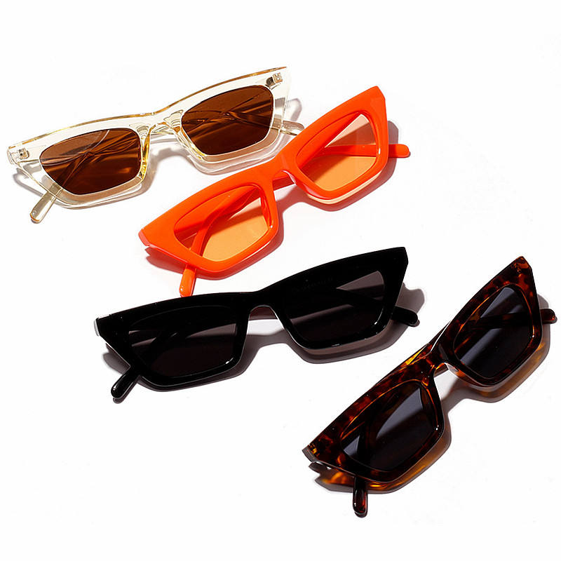 2019 New Fashion Vintage Ladies Sunglasses Orange Black Shades Small Frame Square Women Sunglasses