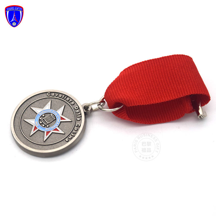 High quality zinc alloy miniature metal medal chef medals custom antique enamel collar medals with ribbon and safety clutch
