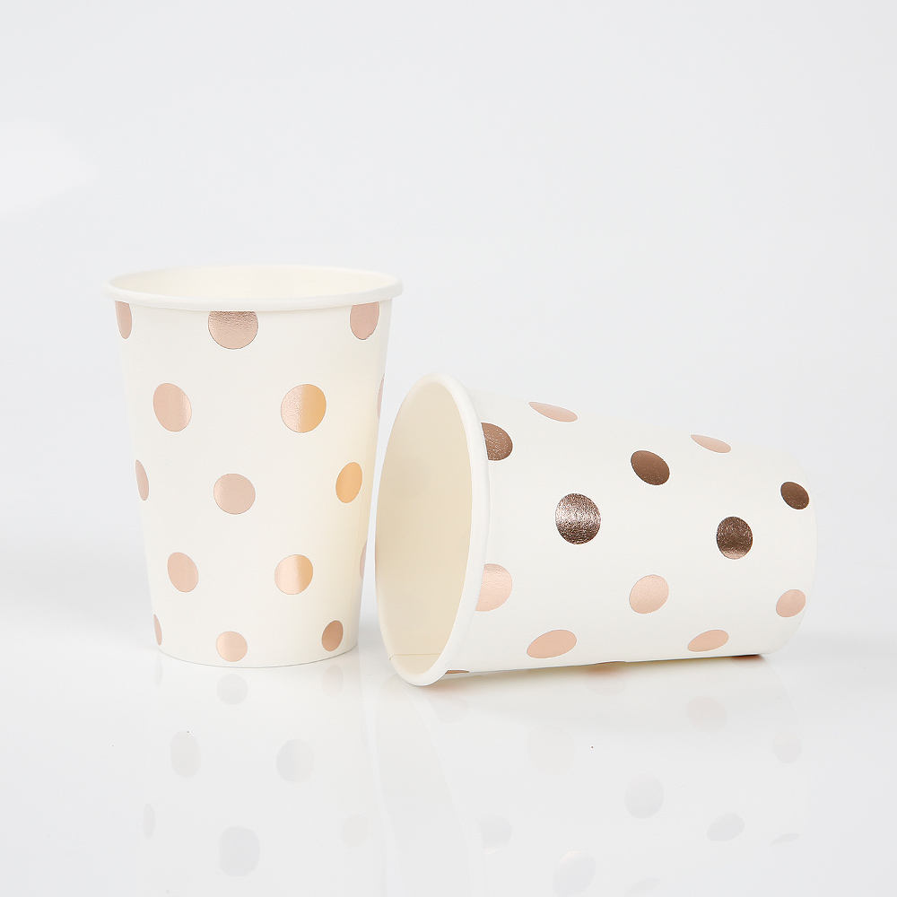 PLA disposable eco friendly for coffee and hot drink biodegradable paper cups party cup carton with straw