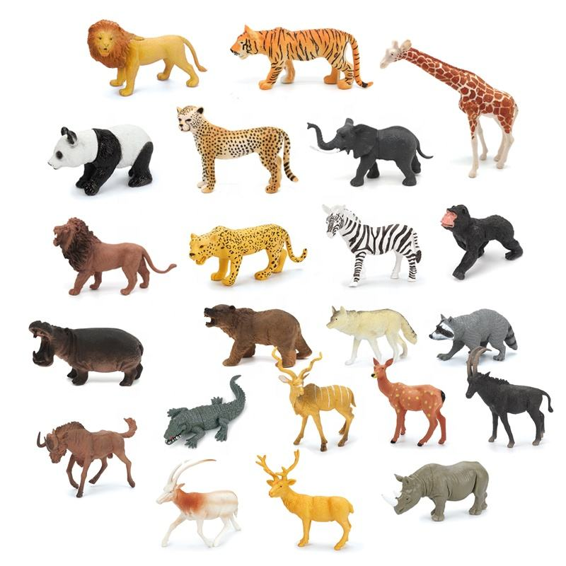 OEM 5'' Wild plastic PVC animals figure mini jungle animals toys set for kids