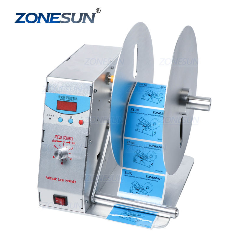 ZONESUN Digital Automatic Label Rewinder Clothing Tags Barcode Stickers Winding Machine Volume Label For Supermarket