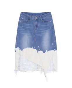 Fashionable tie dye bleach denim women's skirts ripped denim skirt long pencil skirts women