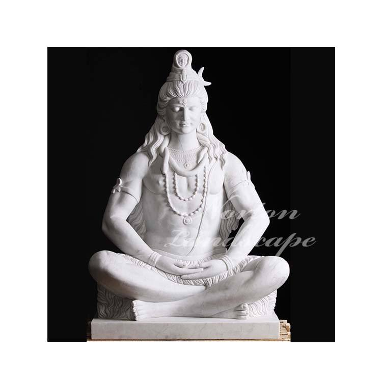 Modern outdoor garden decoration Hindu buddha statue life size hand-carved white marble lord shiva sculpture