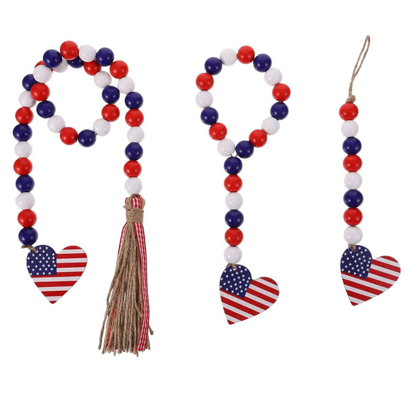 Colorful Wooden Bead Tassel Garland Hemp Rope Ribbon Independence Day Jewelry Home Decor