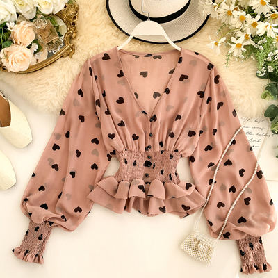 French style women fashion v neck printed puff sleeve chiffon elastic waist blouse tops