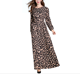 Autumn New Elegant Ladies Leopard Print Lantern Sleeves Casual Long Slim A-line Maxi dress