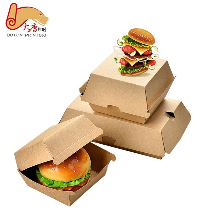 Custom printed foldable Cardboard hamburger Packaging Paper Burger Box