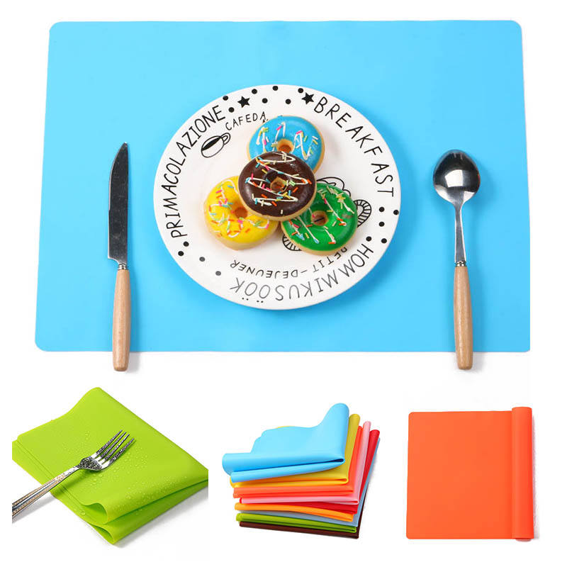 Non Slip Square Silicone Pvc Plate Placemat Baking Kids Dining Dinner Table Mat