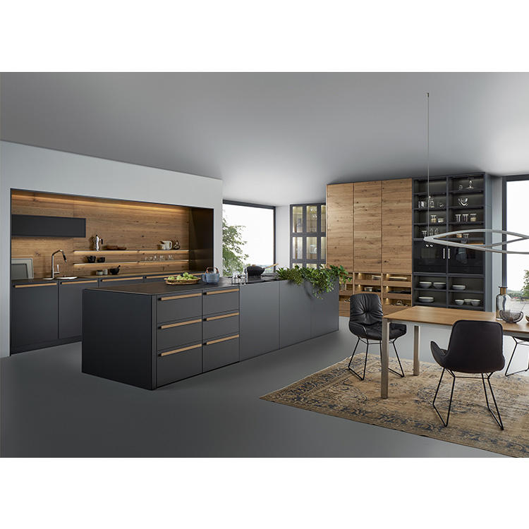 Contemporary Oak Double Doors Open Plan Renovations And Matte Glass Kitchen Cabinets For Kitchen Cupboards