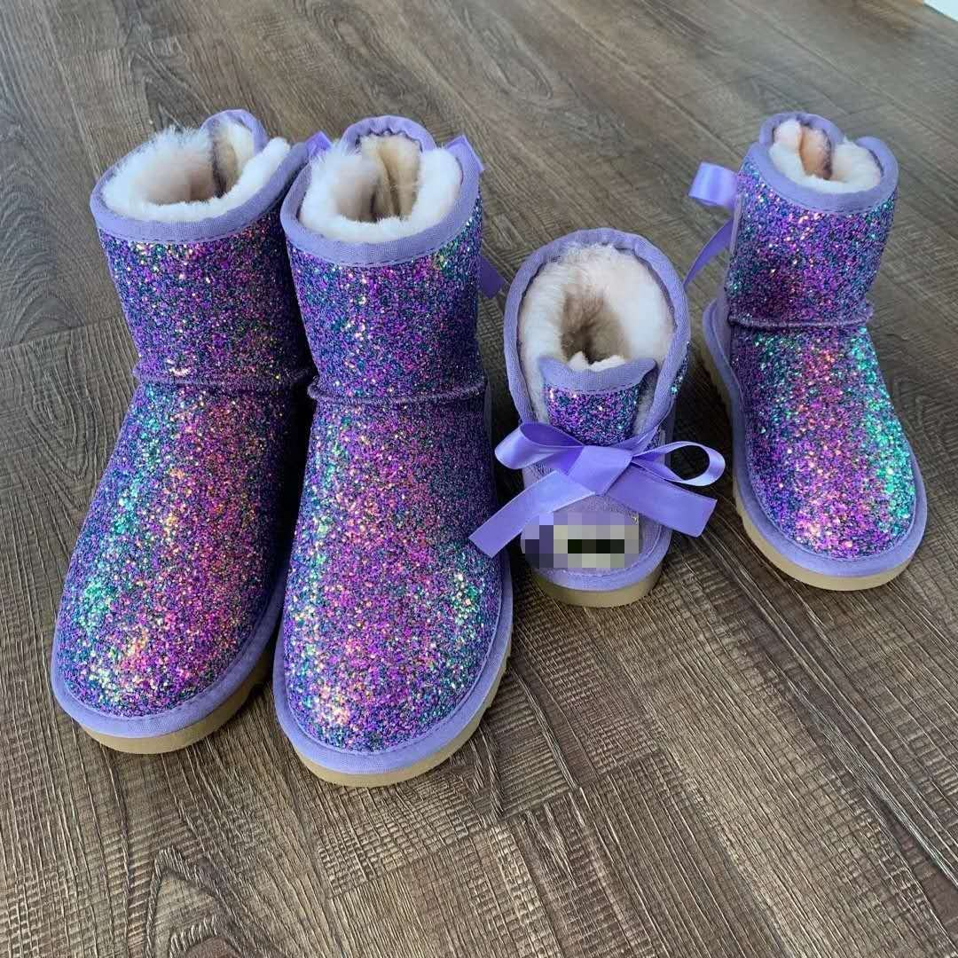 wholesale Fashion winter Fur Short Boot Mom and Kids ugh glitter fur snowboots