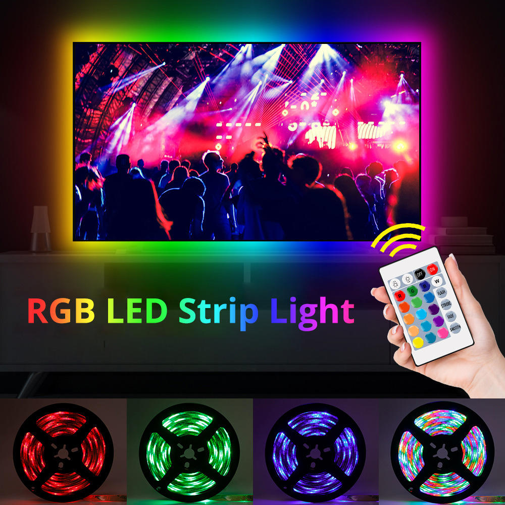 Usb เปลี่ยนสี24 Rf Rgb Smd 5050 Led Strip Light Tv Backlight สำหรับ Mood Light