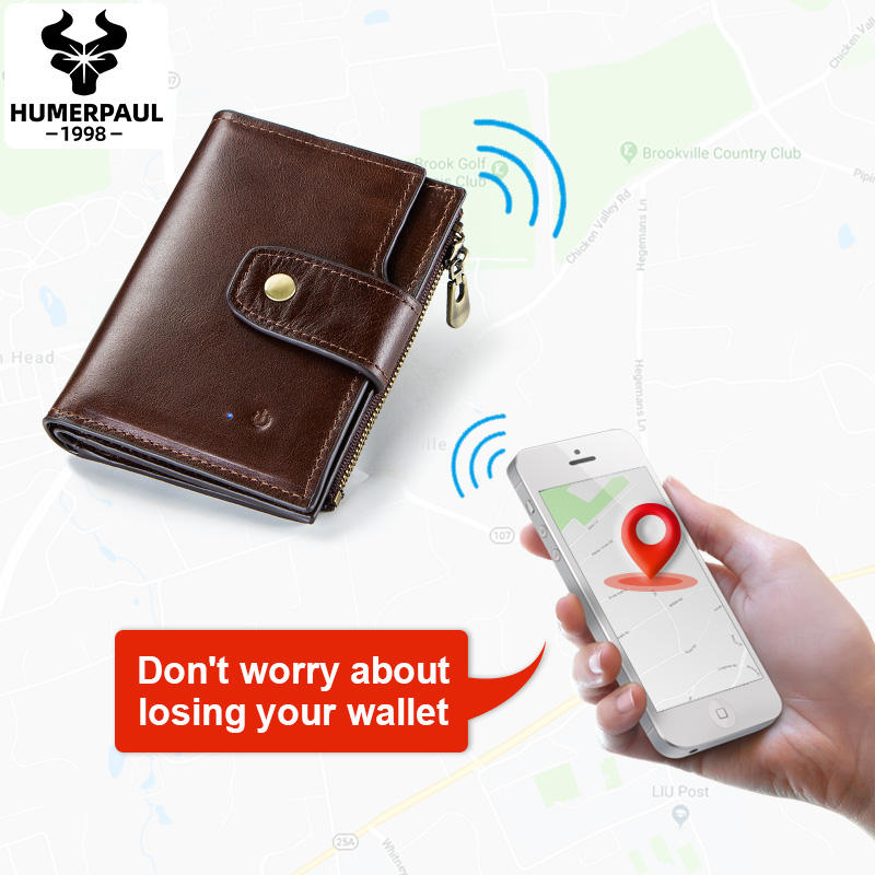 HUMERPAUL Magic design Bluetooth Anti-theft wallet remote phonting GPS location wallet Genuine Leather Smart Wallet