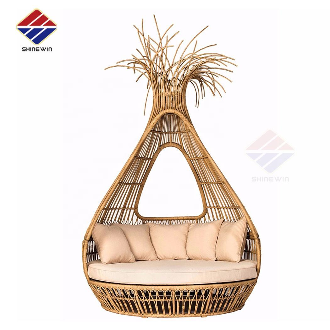 quality outdoor rattan bird nest cage daybed with quality sunproof fabric and quick dry high density foam for pool garde beach