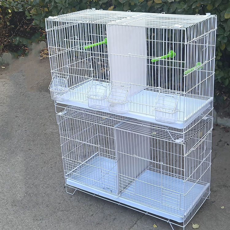 Wholesale 60x27x40 White Bird Breeding Cages Stackable Wire Metal Anti-rust Portable Pet Cage For Canary Parrot Pigeon Quails
