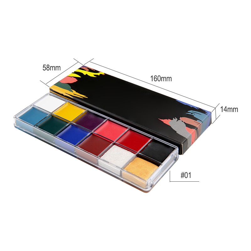 Professional Halloween Body Makeup No Logo Face Paint Kit For Kids Adults 12 Colors Oil Paint Private Label Eyeshadow Palette