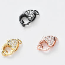 Micro-inlaid Zircon Heart-shaped Lobster Clasp DIY Micro-inlaid Jewelry Bracelet Necklace Connection Accessories Ladies