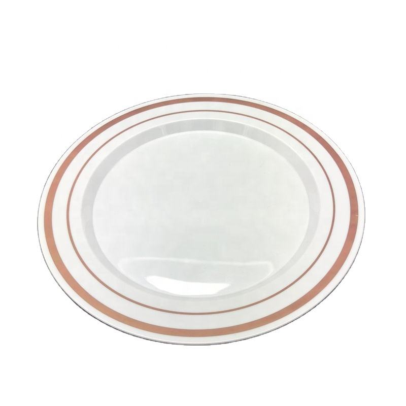 Fancy Large Dinner Plates Disposable Plastic White Plate with Rose Gold Rimmed Design