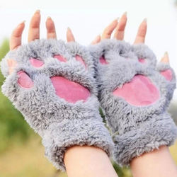 CUHAKCI Women Cute Cat Claw Paw Plush Thicken Mittens Warm S