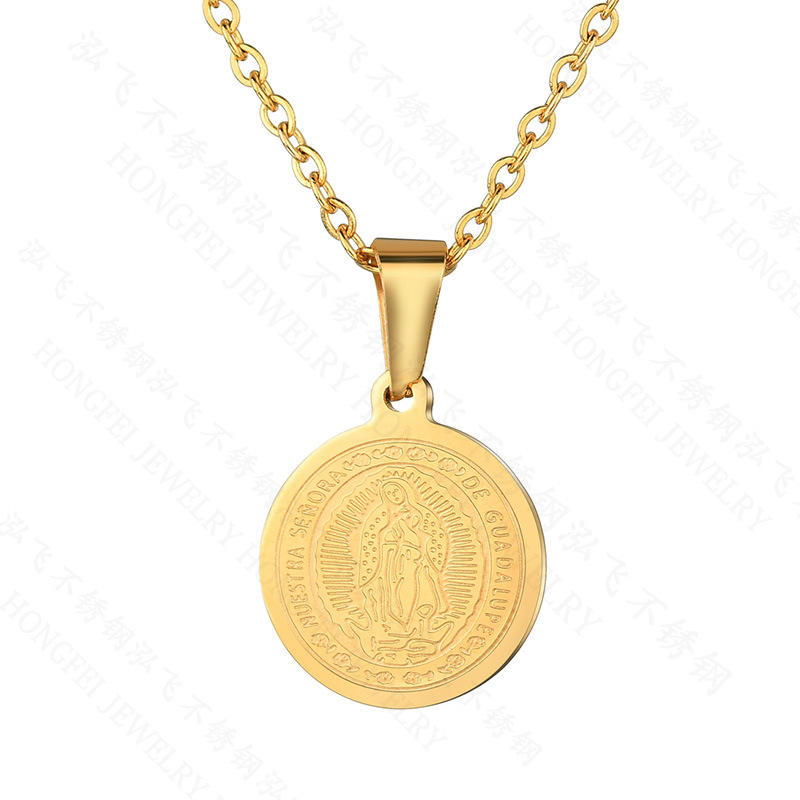 New simple retro 18k gold double-sided Virgin Mary necklace stainless steel round coin pendant